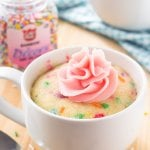 This easy vanilla mug cake is made in the microwave and ready in minutes! It's moist, with a delicious vanilla flavor and tons of sprinkles.