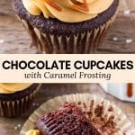 Calling all caramel lovers! These chocolate cupcakes with caramel frosting are moist with a soft crumb and delicious chocolate flavor. Then the caramel buttercream is creamy, sweet & completely addictive. #cupcakes #caramel #chocolatecaramel #frosting #buttercream #chocolate