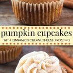 These pumpkin cupcakes with cinnamon cream cheese frosting are the only pumpkin cupcake recipe you need. They're moist, extra soft, filled with pumpkin spice and topped with the fluffiest, creamiest frosting around. #pumpkin #pumpkinspice #pumpkincupcakes #fallbaking #Thanksgiving #dessert #fall #cupcakes