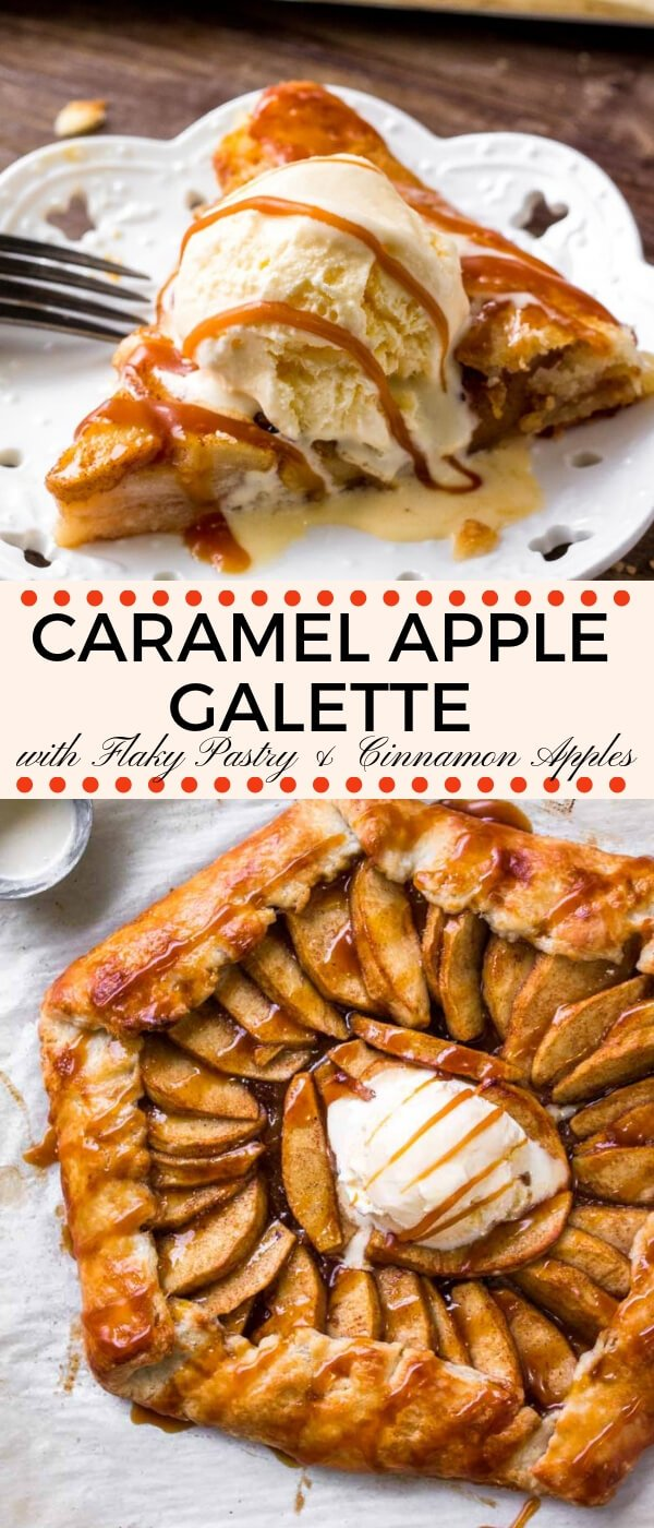 Caramel apple galette has flaky pastry, sweet apples & salted caramel. Easier than making apple pie & way more delicious.  #AD #BCTFapples #OkanaganGrown #LookforourLeaf #applerecipes #applegalette #applepie #caramelapple #galette #fall #baking #Thanksgiving