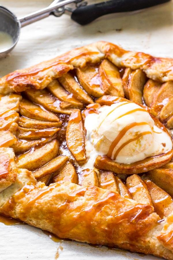 Easy Apple Galette with flaky pastry & salted caramel sauce. The perfect easy apple dessert.