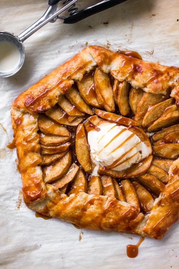 This caramel apple galette has flaky pastry, sweet apples, and salted caramel sauce. Easier than making apple pie, and even more delicious.
