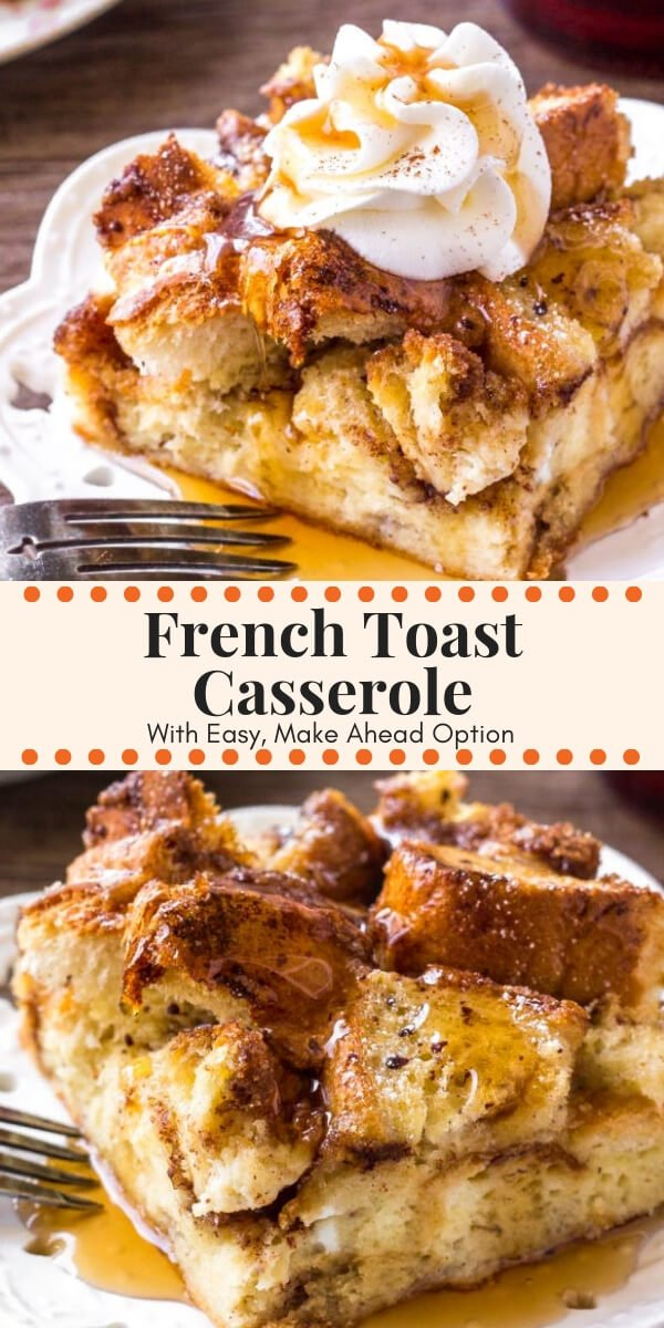 French Toast Casserole with cinnamon sugar topping is soft and fluffy on the inside, and golden brown on top. Make it overnight and bake in the morning, or you can prepare it in the morning. Even more delicious than French toast! #frenchtoast #breakfast #brunch #overnight #easy #makeahead #frenchtoastbake #frenchtoastcasserole