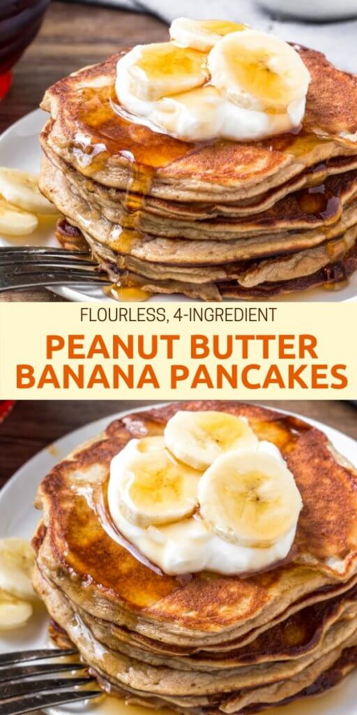 These Peanut Butter Banana Pancakes have a soft & fluffy texture, delicious peanut butter banana flavor, and only take 4 ingredients and 10 minutes to make. Healthy, sugar-free, gluten free & completely delicious! #AD #WorldEggDay