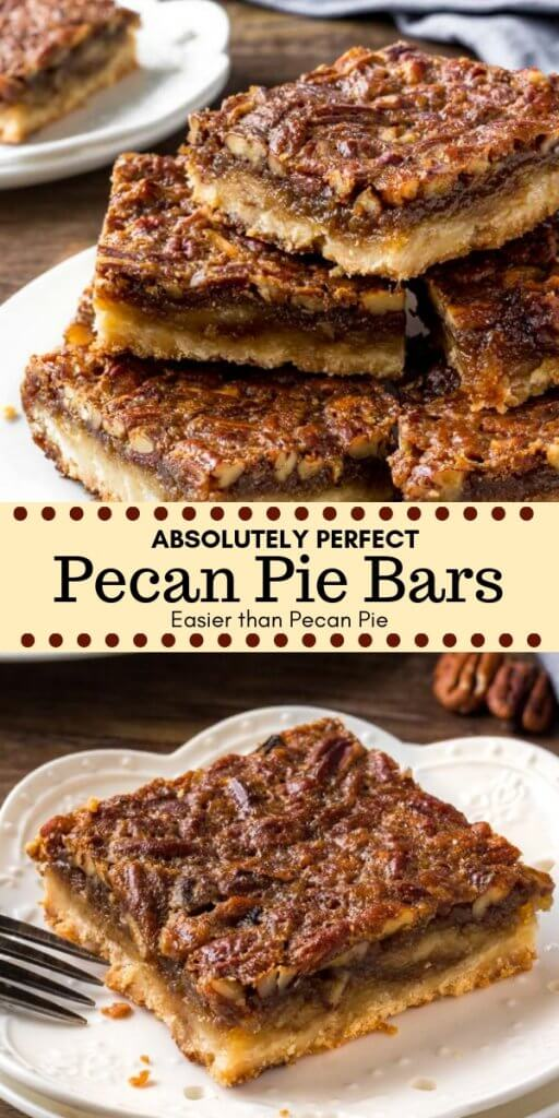 What's the only thing better than classic pecan pie? Pecan pie bars! They have a thick, buttery shortbread crust; gooey, sweet centers; and tons of pecans.#pecanpie #piebars #holidaybaking #thanksgiving #pecans #pie #easy