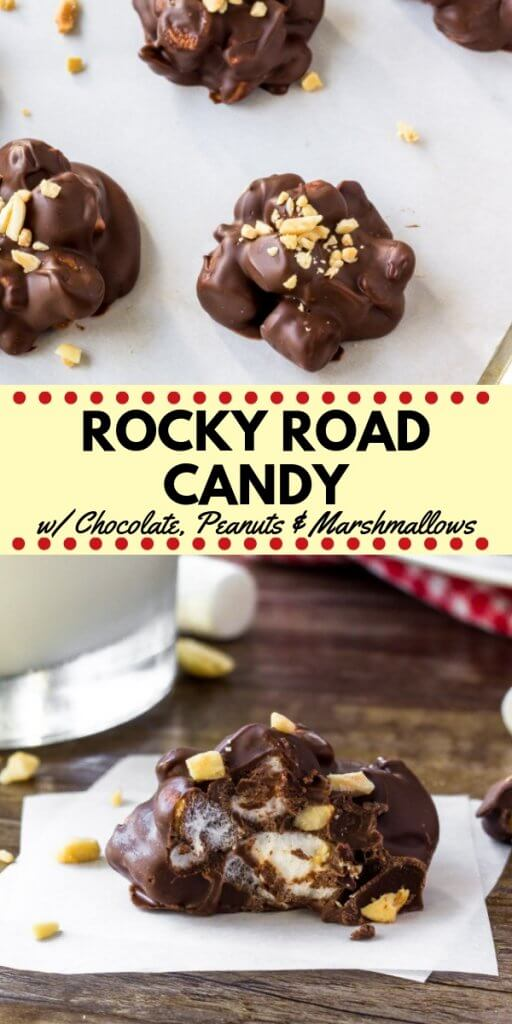 Clusters of crunchy peanuts, gooey marshmallows and creamy milk chocolate make this Rocky Road Candy impossible to resist. Simply melt the chocolate, then stir in the peanuts and marshmallows. So easy and perfect as a homemade gift.#rockyroad #candy #homemade #nobake #ediblegifts #homemadegifts