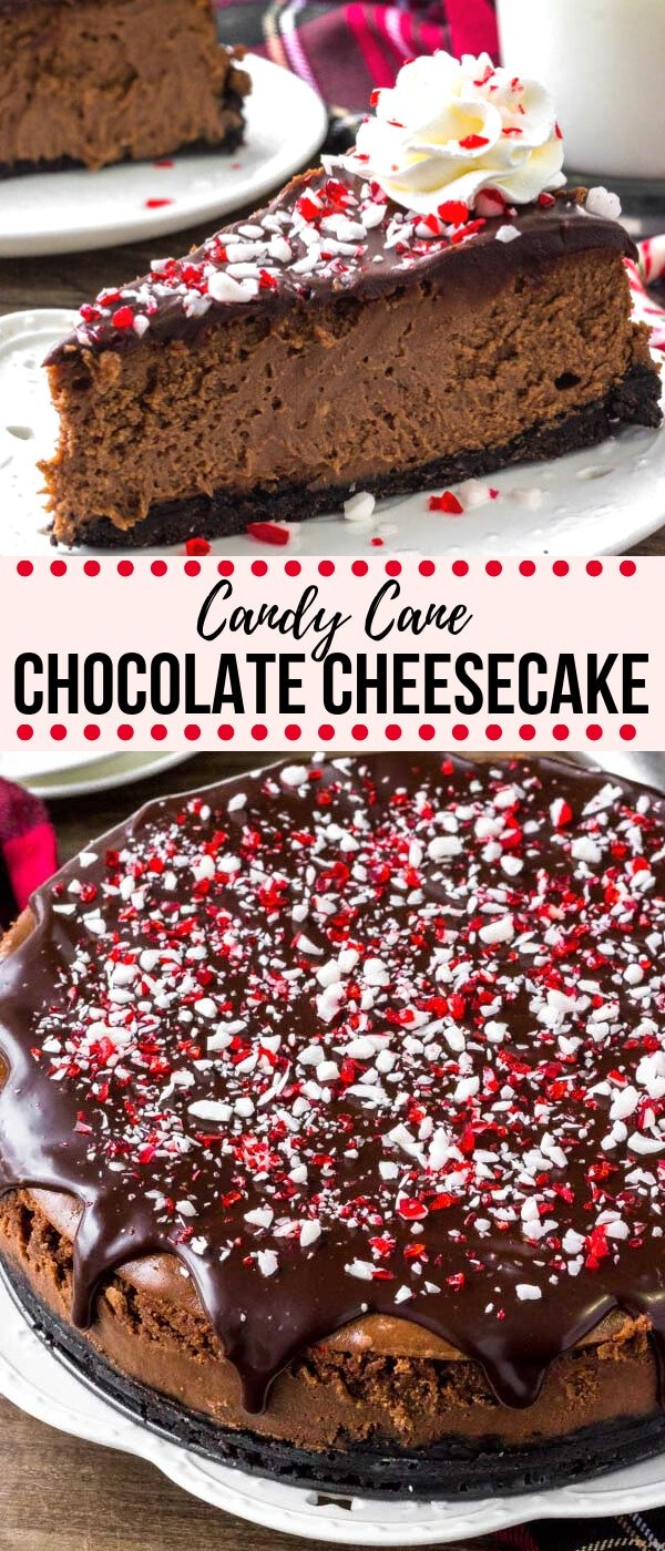 Creamy cheesecake, rich chocolate, and peppermint candy canes - what's not to love? This chocolate peppermint cheesecake is the perfect showstopper holiday dessert! #cheesecake #candycane #peppermint #christmas #holidays #dessert #christmasrecipes #holidaybaking