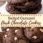 Chocolate and caramel makes for the perfect combo in these incredible dark chocolate caramel cookies. They're rich, fudgy, extra chocolatey, filled with caramel baking bits and a touch of sea salt.#cookies #chocolate #christmascookies #saltedcaramel