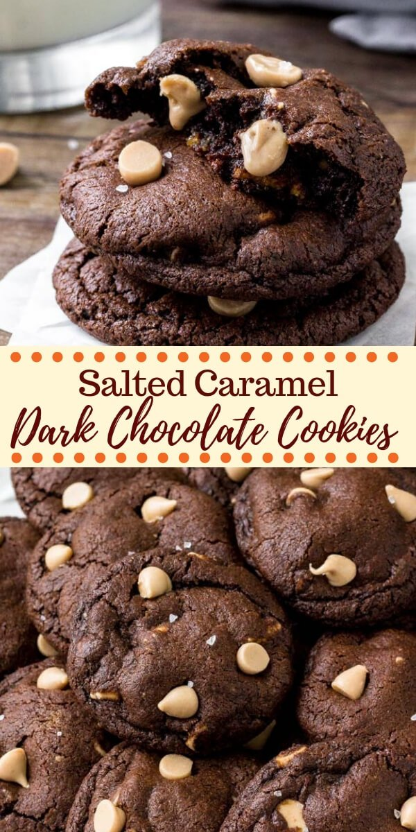 Chocolate and caramel makes for the perfect combo in these incredible dark chocolate caramel cookies. They're rich, fudgy, extra chocolatey, filled with caramel baking bits and a touch of sea salt. #cookies #chocolate #christmascookies #saltedcaramel