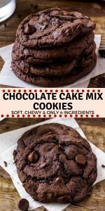 Chocolate Cake Mix Cookies are soft, chewy, and a little fudgy. The recipe only requires 4 ingredients, so it's the perfect easy chocolate cookie recipe for whenever the craving hits. #chocolate #cakemix #cookies #easyrecipes #chocolatecookies #chocolatechipcookies