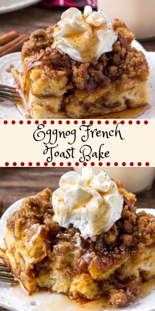 Eggnog French Toast Bake is an easy, make-ahead breakfast casserole that's perfect for the holidays. It's extra fluffy with a delicious eggnog flavor and crunchy crumble topping. #breakfast #frenchtoast #christmas #holidays #breakfastcasserole #eggnog #christmasbreakfast #overnight #makeahead