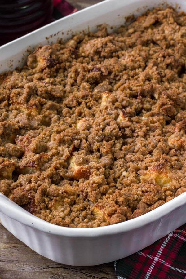 Casserole dish of eggnog french toast bake. Make it ahead for the perfect, easy Christmas breakfast.