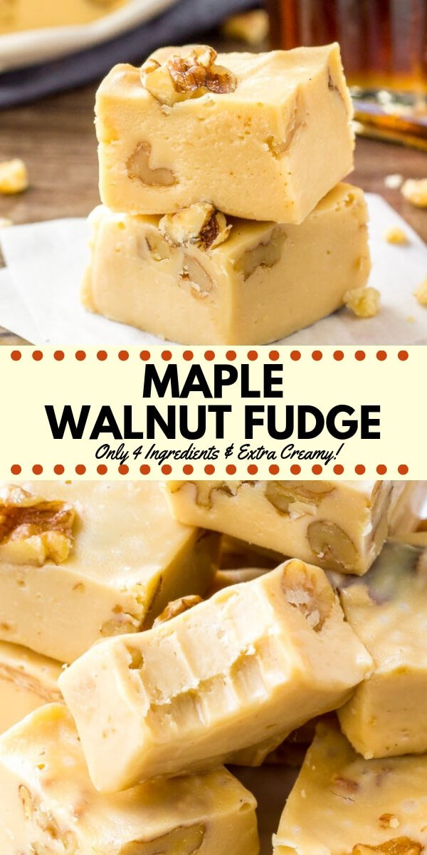 This maple walnut fudge is extra creamy with the perfect maple flavor. It's made with only 4 ingredients - so it' super easy & completely failproof. It's perfect over the holidays, and also makes a great gift! #fudge #maple #maplewalnut #christmas #holidays #homemadegifts