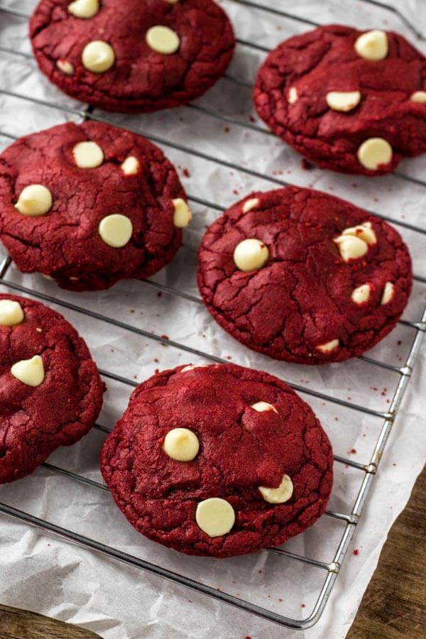 Easy red velvet cookies made with cake mix and filled with chocolate chips.