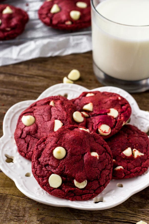 Cake Mix Red Velvet Cookies - so easy & filled with white chocolate chips