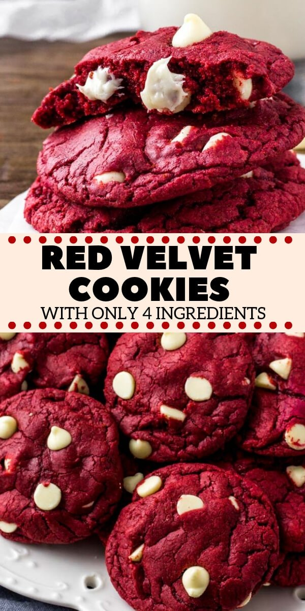 These Red Velvet Cake Mix Cookies are soft, chewy & filled with white chocolate chips. There's only 4 ingredients and they're the perfect easy red velvet cookie for Christmas or Valentine's! #redvelvet #cakemix #cookies #easy #valentines #christmas #christmascookies #easyrecipes