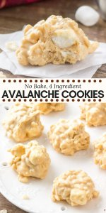 These easy no-bake avalanche cookies are crispy, crunchy, a little gooey, and filled with peanut butter and white chocolate. They're made with only 4 ingredients and are seriously addictive. #nobake #avalanchecookies #nobakecookies #peanutbutter #marshmallows #ricekrispies