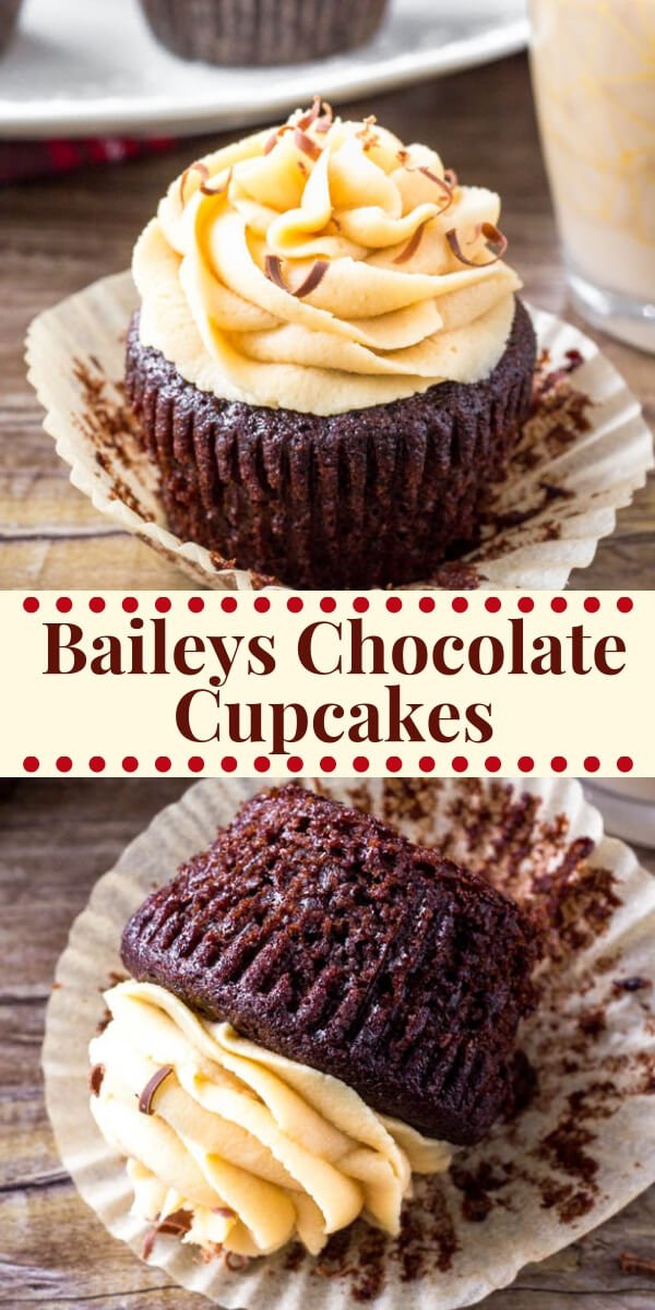 These Baileys Cupcakes are the perfect grown-up cupcake recipe - moist, fudgy chocolate cupcakes with fluffy Irish cream frosting and completely irresistible. #baileys #irishcream#cupcakes #holidays #baking #stpatricksday #newyearseve #dessert