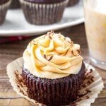 Baileys Cupcakes are the perfect grown-up cupcake recipe - moist, fudgy chocolate cupcakes with fluffy Irish cream frosting and completely irresistible.