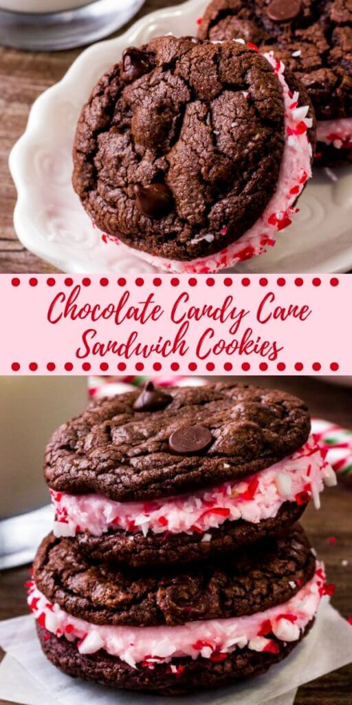 Creamy, fluffy peppermint frosting slathered between 2 soft & chewy cookies. These chocolate peppermint sandwich cookies are perfect for the holidays and the ultimate combination of chocolate & mint. #holidaybaking #christmas #cookies #baking #chocolatepeppermint #candycane