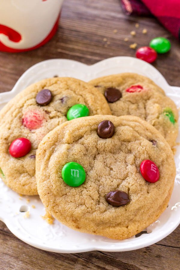 Christmas M&M Cookie Recipe - soft, chewy, no chill & super easy to make.