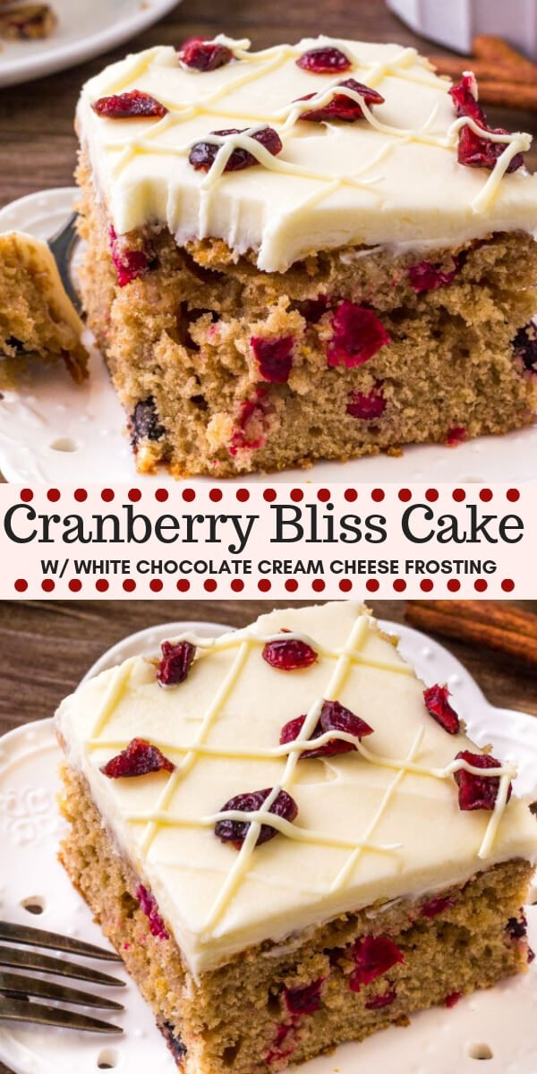 This Cranberry Christmas Cake is the perfect holiday dessert. It's extra moist and super flavorful thanks to brown sugar, cinnamon, a hint of orange zest, and fresh cranberries. Topped with white chocolate cream cheese frosting. #cranberry #cake #christmas #christmasbaking #cranberryblissbar #holiday #baking #dessert #christmasdinner