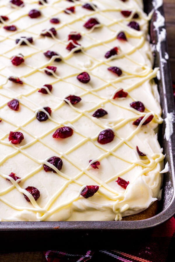 Cranberry cake - with white chocolate cream cheese frosting.