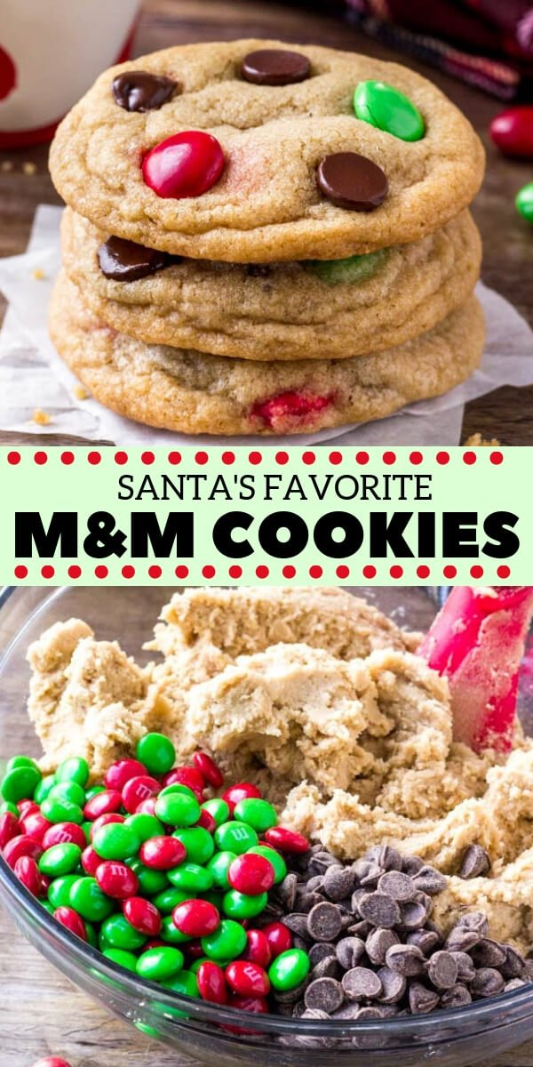 These Christmas M&M cookies are perfect for the holidays. They're soft, chewy, buttery, and filled with holiday candies and chocolate chips. No chill, super easy, and Santa's loves them too! #christmas #cookies #M&Ms #holidaycookies #cookieexchange