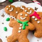 A plate of soft gingerbread cookies - these are perfectly spiced and the best gingerbread cookies around.