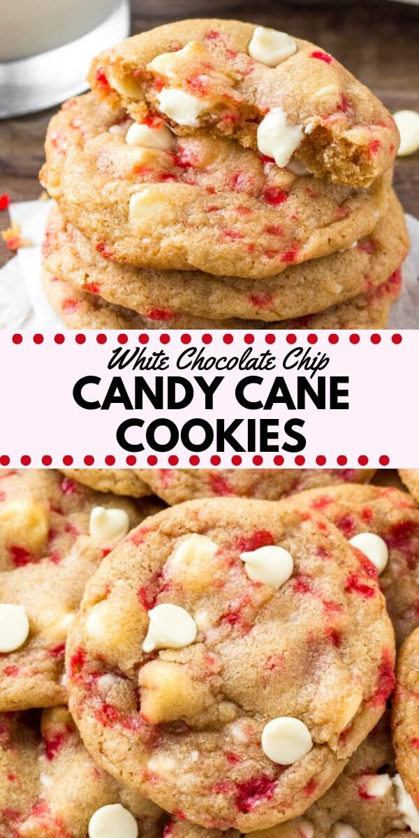 These white chocolate candy cane cookies are the perfect holiday chocolate chip cookie recipe. They're soft, chewy, filled with Christmas cheer & super pretty! #christmascookies #christmas #baking #peppermint #candycane #cookies #cookieexchange