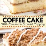 This easy coffee cake recipe is moist and buttery with a ribbon of cinnamon in the middle and brown sugar streusel topping. It has a deliciously tender crumb because it's made with sour cream and the cinnamon streusel doubles as the filling and topping. Perfect for breakfast or brunch - everyone loves this classic coffee cake recipe. #coffeecake #cake #breakfast #brunch #recipe