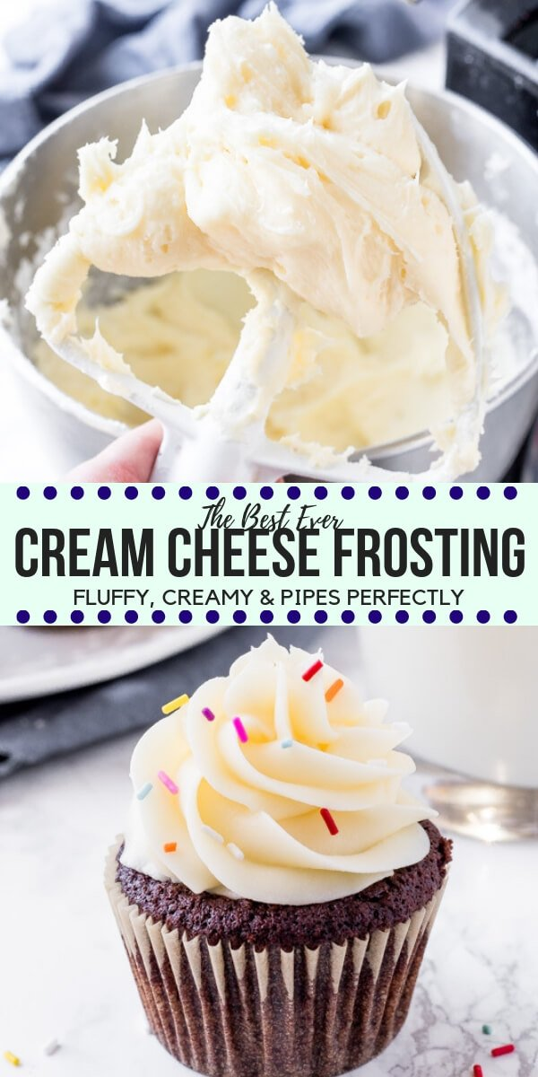 This easy cream cheese frosting is fluffy, tangy, extra creamy and super smooth. It thick enough to pipe onto cakes and cupcakes, and tastes delicious on so many cake flavors - like red velvet, carrot, banana cake and so much more! #creamcheesefrosting #frosting #buttercream #creamcheese #redvelvet #carrotcake #cakes #cupcakes