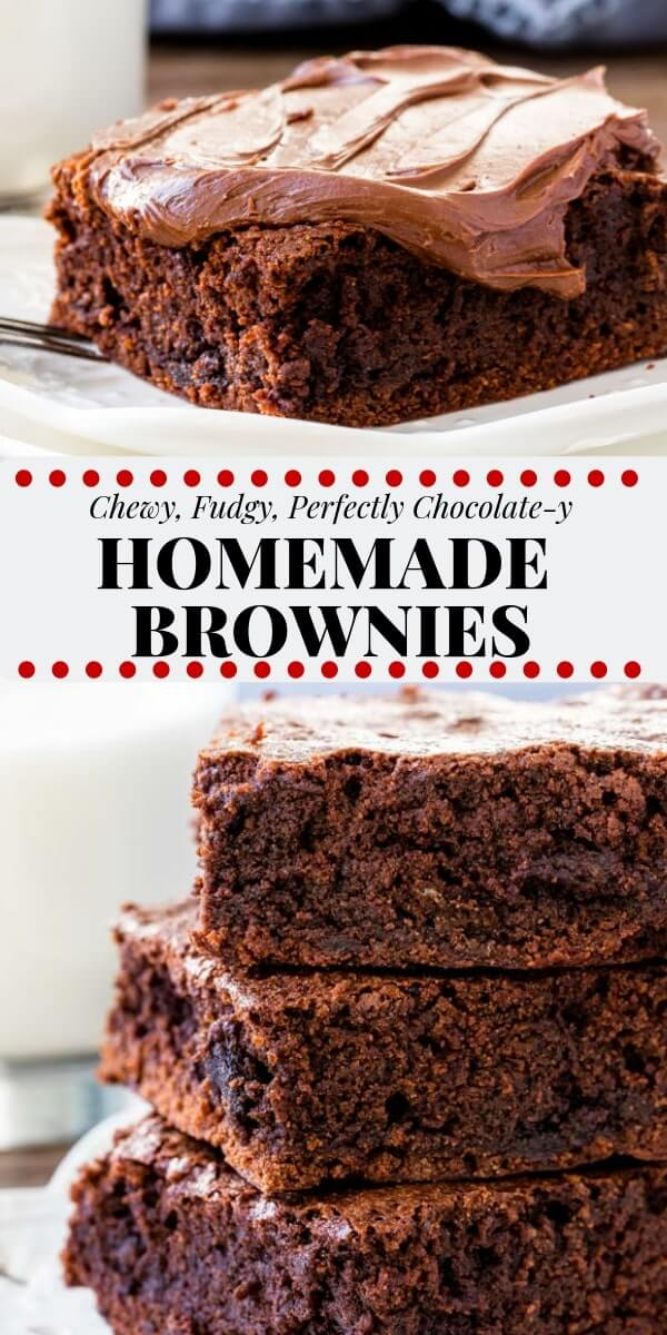 These homemade brownies are chewy, fudgy and perfectly chocolatey. They're made from scratch with cocoa powder and other simple pantry ingredients - so it's the perfect easy brownie recipe.#brownies #recipe #chocolate #easy #homemade #brownierecipe