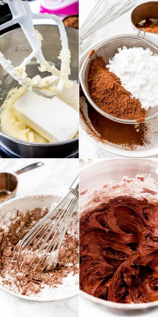 Step by step guide of how to make cream cheese chocolate frosting. Easy, creamy & perfect for cupcakes or cakes