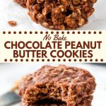 These chocolate peanut butter no bake cookies extra chewy, filled with texture and have a delicious chocolate peanut butter flavor. You only need a few simple ingredients to make these highly addictive treats!#nobake #cookies #chocolatepeanutbutter #recipes #easy #nobakecookies