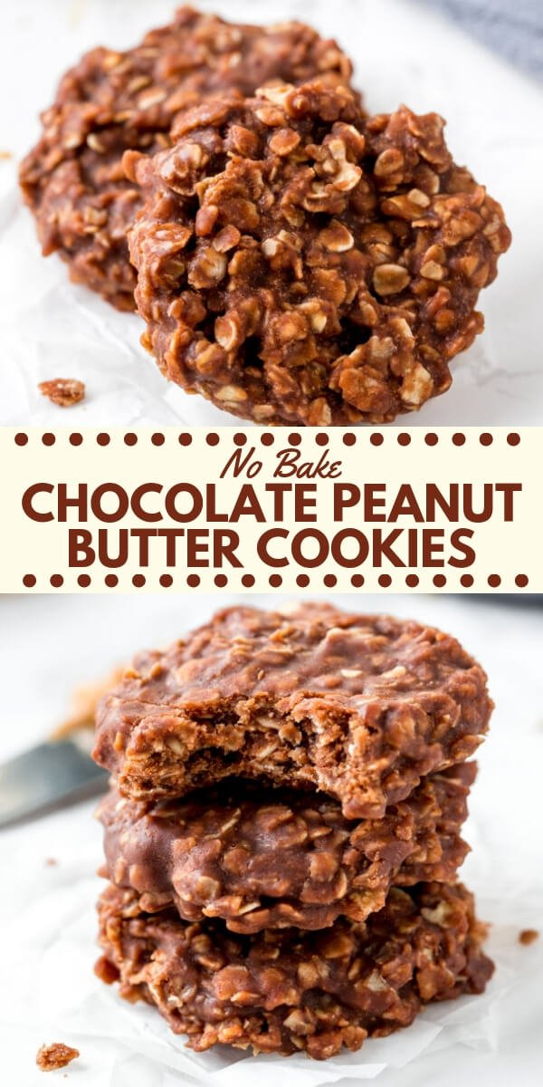 These chocolate peanut butter no bake cookies extra chewy, filled with texture and have a delicious chocolate peanut butter flavor. You only need a few simple ingredients to make these highly addictive treats! #nobake #cookies #chocolatepeanutbutter #recipes #easy #nobakecookies