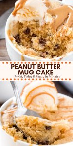 This easy peanut butter mug cake is fudgy, moist, made in the microwave, and ready in under 5 minutes. Add in some chocolate chips or an extra drizzle of peanut butter on top for the most delicious mug cake recipe. #mugcake #peanutbutter #microwave #easy #peanutbuttermugcake #singleserving #dessert #recipes