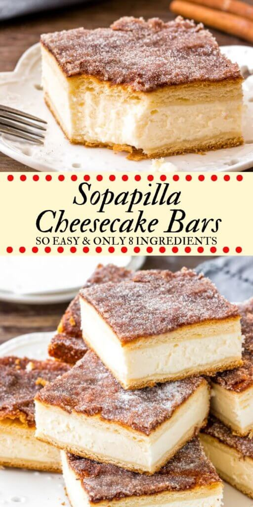 These sopapilla cheesecake bars have a thick layer of creamy cheesecake between 2 sheets of flaky pastry. Then they're topped with buttery cinnamon sugar. This version of sopapilla is made with only 8 ingredients - so it's quick, easy & oh so delicious. #cheesecake #sopapilla #cheesecakebars #cinnamonsugar #easy #recipes #cheesecakebars #sopapillacheesecake