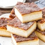 These sopapilla cheesecake bars have a thick layer of creamy cheesecake between 2 sheets of flaky pastry. Then they're topped with buttery cinnamon sugar. This version of sopapilla is made with only 8 ingredients - so it's quick, easy & oh so delicious.