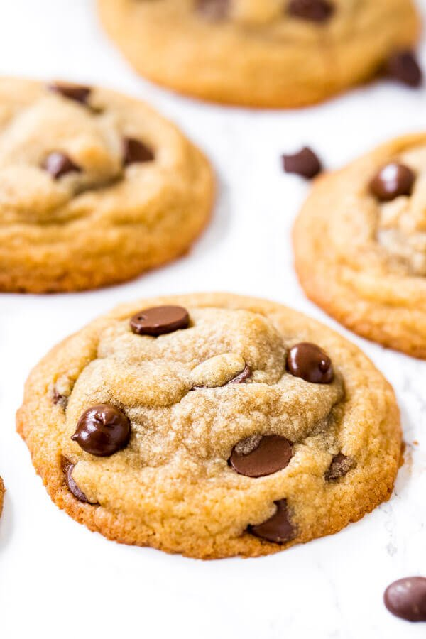 Close up of chocolate chip cookies for two.