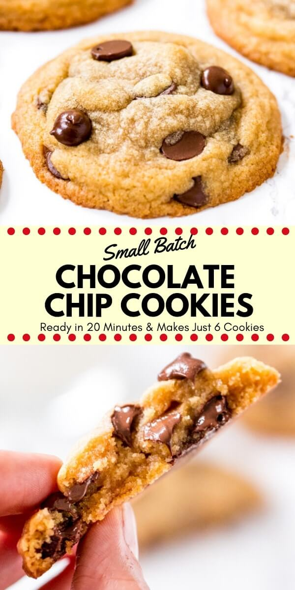Small batch chocolate chip cookies are soft, chewy & completely irresistible. They're made with melted butter, no mixer, and there's no chilling required - so you can go from cookie craving to a plate of warm cookies in no time. #chocolatechipcookies #smallbatch #cookies #recipes #smallbatchchocolatechipcookies #easy