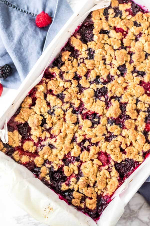 Overhead shot of mixed berry oatmeal crumble bars fresh out of the oven.