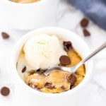 Chocolate chip cookie in a mug - a soft, chewy, deep dish cookie that's made in the microwave