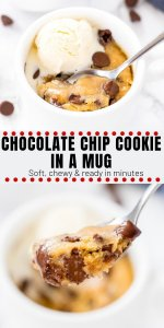 This single serving, deep dish chocolate chip cookie in a mug is seriously gooey and delicious. Ready in under 5 minutes - is dangerously delicious and easy to make! #chocolatechipcookies #microwave #forone #singleserving #chocolatechipcookie #mugcake
