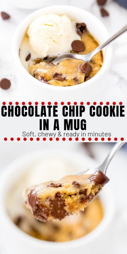 This single serving, deep dish chocolate chip cookie in a mug is seriously gooey and delicious. Ready in under 5 minutes - is dangerously delicious and easy to make!#chocolatechipcookies #microwave #forone #singleserving #chocolatechipcookie #mugcake