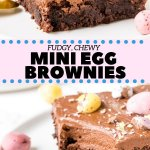 Fudgy brownies, creamy chocolate frosting & delicious Easter candies - what's not to love about these Mini Egg Brownies? These incredible brownies are the perfect Easter treat. #easter #brownies #spring #minieggs #easterdesserts #recipes #easterdinner