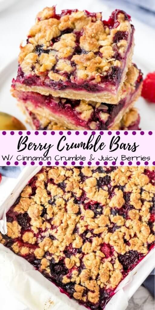 Buttery oatmeal crumbles and sweet, juicy berries make these Mixed Berry Crumble Bars impossible to resist. These bars usethe same mixture for the oatmeal base and crumble topping, then the middle is a juicy layer of strawberries, blueberries, raspberries & blackberries that tastes just like summer.#crumble #fruitcrumble #berries #fruitcrisp #mixedberry #desserts #recipes #easy #bars