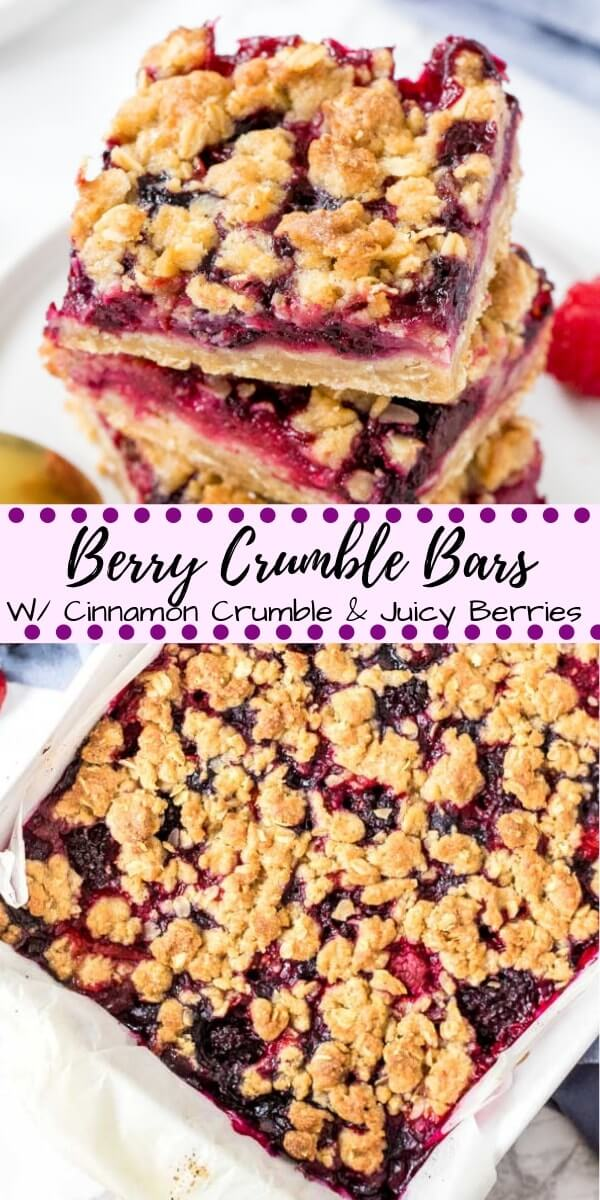 Buttery oatmeal crumbles and sweet, juicy berries make these Mixed Berry Crumble Bars impossible to resist. These bars use the same mixture for the oatmeal base and crumble topping, then the middle is a juicy layer of strawberries, blueberries, raspberries & blackberries that tastes just like summer. #crumble #fruitcrumble #berries #fruitcrisp #mixedberry #desserts #recipes #easy #bars