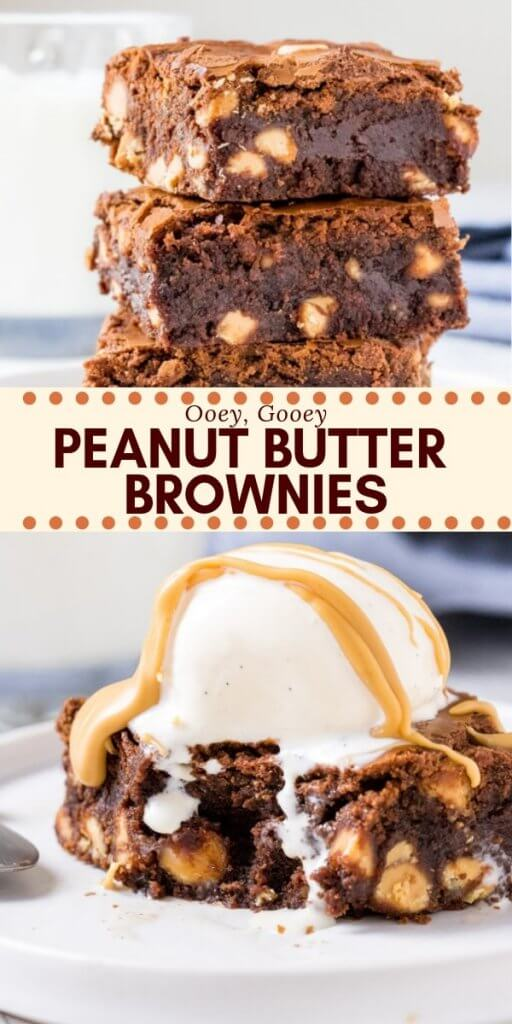 These fudgy, gooey peanut butter brownies have a delicious chocolate peanut butter flavor. We're mixing peanut butter into the brownie batter and filling them with peanut butter chips for a double dose of peanut butter goodness. #brownies #peanutbutter #peanutbutterbrownies #easy #recipes #chocolate