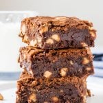 Fudgy, gooey peanut butter brownies have a delicious chocolate peanut butter flavor and are filled with peanut butter chips.